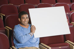 Man Holding Blank Placard Royalty Free Stock Image