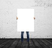 Man holding blank placard Stock Image