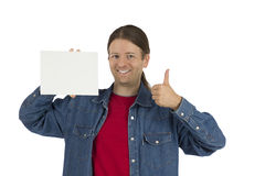 Man holding a blank placard giving thumb up Stock Images