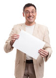 Man Holding Blank Placard. Happy Man Holding Blank Placard Over White Background Royalty Free Stock Photography