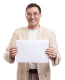 Man Holding Blank Placard Stock Images