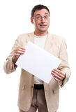 Man Holding Blank Placard. Happy Man Holding Blank Placard Over White Background Royalty Free Stock Photos