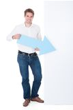 Man Holding Blank Placard Stock Photos