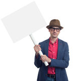 Man holding a blank placard. Isolated Stock Image
