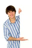 Man holding blank poster Royalty Free Stock Image