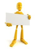 Man holding the blank poster. 3d man holding the blank poster Stock Images