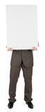 Man holding blank poster Royalty Free Stock Photo