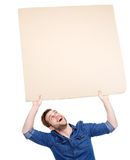 Man holding blank poster sign up Stock Images