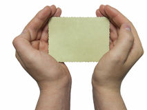Man holding a blank retro photo Royalty Free Stock Image