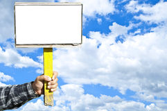 Man holding blank sign Royalty Free Stock Image