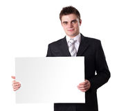 Man Holding Blank Sign Stock Photo