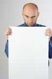 Man Holding a Blank Sign Royalty Free Stock Photo