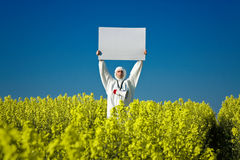 Man holding blank sign Stock Image
