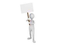 Man holding blank sign board. 3D render Stock Photography