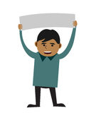 Man holding blank sign. Illustration of young man holding a blank sign or banner royalty free illustration