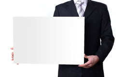 Man holding a blank white board Stock Image