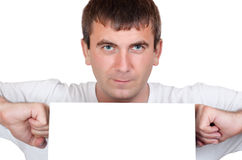 Man holding a blank white board Stock Photography