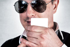Man with card Stock Images
