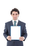 Man holding blank white card with space for text. Sad man holding blank white card with space for text, worried  business man holding empty signboard for copy Stock Photos