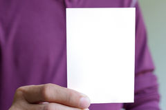 Man holding blank white Stock Images
