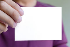 Man holding blank white Stock Image