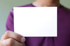 Man holding blank white Royalty Free Stock Photography