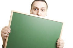Man holding the board. Caucasian man holding the board Royalty Free Stock Photo