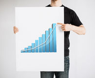 Man holding board with 3d graph Stock Photo