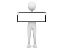 Man holding board. Man holding blank board; 3D render Stock Image