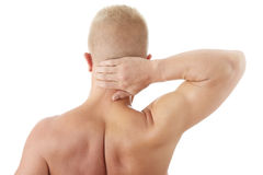 Man holding body like he is sore Stock Images