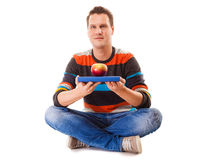 Man holding book and red apple. Healthy mind and body Royalty Free Stock Photo