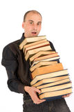 Man holding books Royalty Free Stock Photo