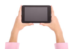 Man holding both hands tablet PC Royalty Free Stock Photos