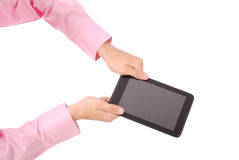 Man holding both hands tablet PC Stock Images
