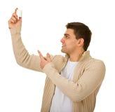 Man holding a bottle of medicine Stock Photo