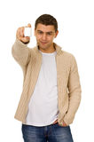 Man holding a bottle of medicine Stock Photography