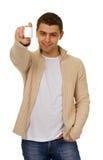 Man holding a bottle of medicine Stock Image