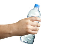 Man holding a bottle of water in hand, close-up stock image