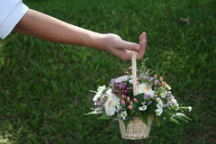Man holding bouquet. Man's hand holding bouquet of flowers stock image