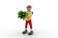 Man holding bouquet. In white color background Stock Images