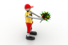 Man holding bouquet. In white color background Royalty Free Stock Photo