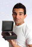 Man holding box product Stock Photo