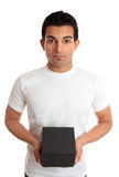 Man holding box product or gift Royalty Free Stock Image