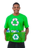 Man holding box of recyclables Royalty Free Stock Photography