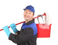 Man holding broom and bucket. Isolated on a white background Royalty Free Stock Image