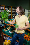 Man holding bunch of herbs and broccoli in organic section Royalty Free Stock Image