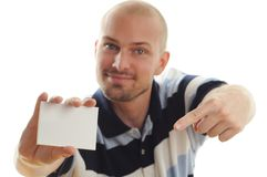 Man Holding Business Card Royalty Free Stock Image