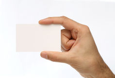 Man holding a business card Royalty Free Stock Photo
