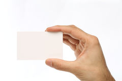 Man holding a business card Stock Photo