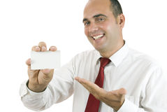 Man holding a business card Royalty Free Stock Photos